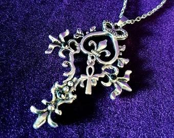 Fleur de lis Gothic Cross Ankh Pendant