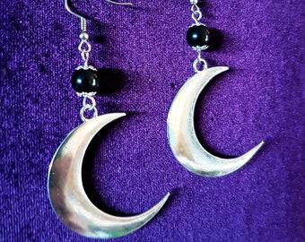 Obsidian Crescent Moon Earrings - Luna Black Obsidian Earrings