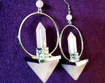Rose Quartz Pyramid Earrings