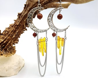 Crescent Moon Sunset Aura Quartz Crystal Earrings