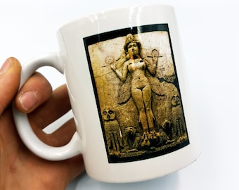 Lilith | Inanna | Ishtar Mug - Burney Relief (Luciferothica Branded)