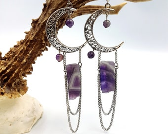 Crescent MoonAmethyst Crystal Earrings