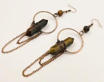 Tigereye Crystal Frequency Earrings