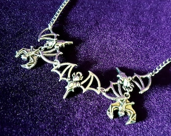 Bat Madness Necklace - Bat wings gothic vampire occult wing neckpiece