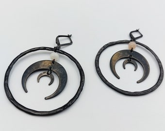Crescent Moon Witch Earrings with Moonstone (Black Copper)