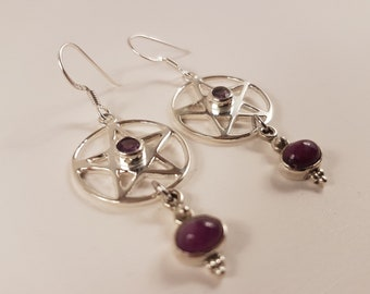 Ruby & Amethyst Pentagram Earrings ( Sterling Silver 925 )