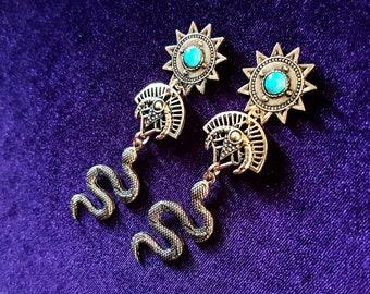 Quetzalcoatl Aztec Earrings (Gold Colour)