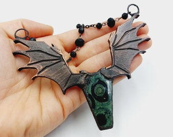 Electroformed Vampire Coffin Batwing Necklace with Kambaba (Copper)