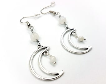 Crescent Earrings with Rainbow Moonstone