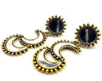 Abstract Triple Moon Mirror Earstuds