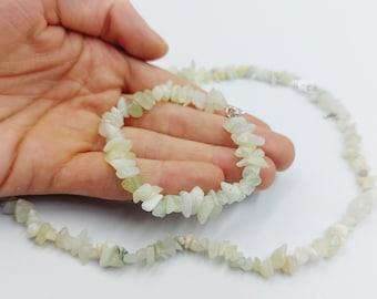 Prehnite Solar Plexus Jewelry Set ( Necklace & Bracelet)