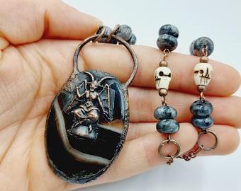 Electroformed Baphomet Necklace with Onyx, Labradorite & Yakbone Skulls (Copper)