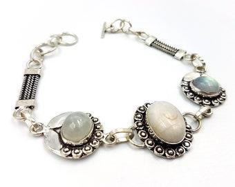 Vintage Sterling Silver Moonstone Bracelet