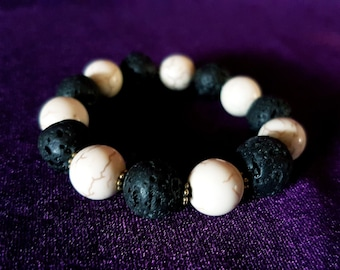Howlite Lava Stone Bracelet.