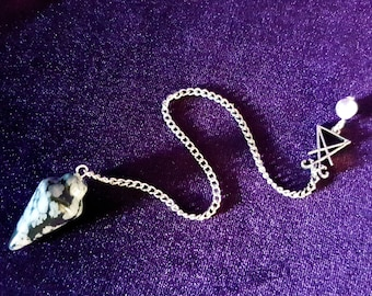 Sigil of Lucifer SnowFlake Obsidian Pendulum - Amethyst bead scrying witchcraft wicca occult magic magick goth gothic