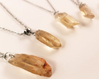 Lemurian Crystal with Citrine Pendant (5 Different Stones)