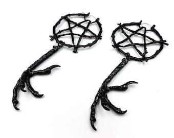 Black Pentagram Crow Hoop Earrings