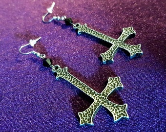 Inverted Cross Earrings (Steel)
