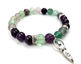 Moon Goddess Bracelet (Rainbow Fluorite & Amethyst)