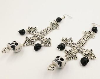 Inverted Cross Skull Earrings