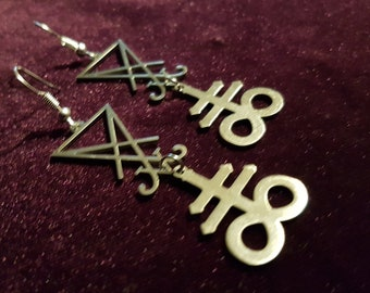 Stainless Steel Sigil of Lucifer | Leviathan Earrings
