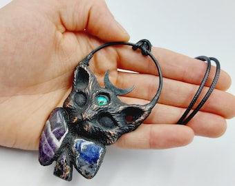 Electroformed Third Eye Cat Pendant with Amethyst, Sodalite & Chaorite Crystal (Copper)