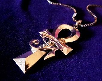 GoldShine Eye of Horus Ankh Pendant