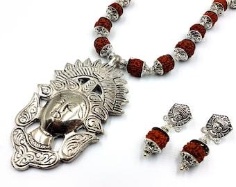 Tibetan Rudraksha Necklace & Earstuds Set