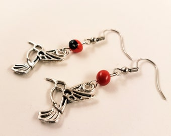Peruvian Huayruro Seed Humming Bird Earrings