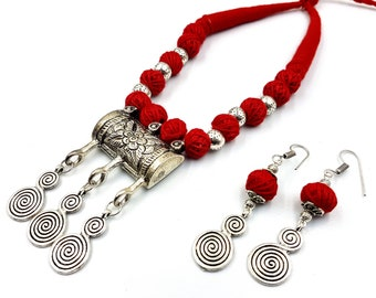 Vedic Red Dori Spiral Necklace & Earrings Set