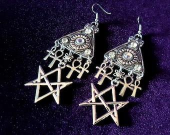 Hexagram Ankh Earrings.