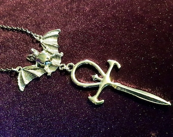 Vampire Ankh Rear View Mirror Charm (Car Accessory)