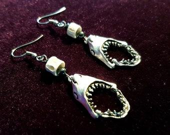 Shark Bite Earrings with Fish Bones