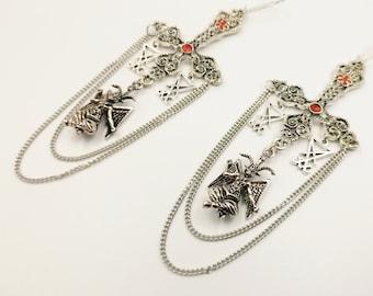 Luciferian Inverted Cross Baphomet Earrings