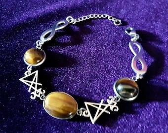 Luciferian Tiger Eye Infinity Bracelet