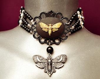 Victorian Gothic Moth Choker (Beelzebub)