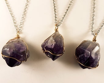 Wire Wrapped Amethyst Pendant (3 Pieces)