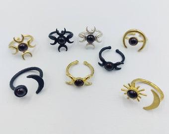 Moon Rings with Garnet Crystal