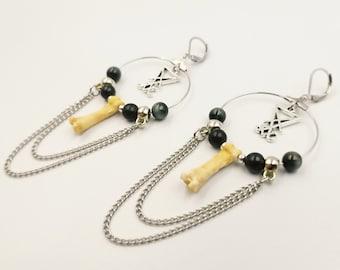 Sigil of Lucifer Coyote Bone Earrings with Shungite & Tigereye