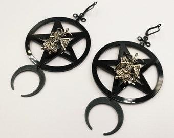 Baphomet Pentagram Earrings