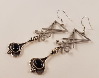 Sigil of Lucifer Onyx Earrings ( Sterling Silver 925 )