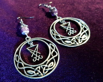 Sigil of Lucifer Tribal Earrings