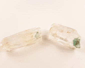 Lemurian Crystal Quartz with Fuchsite (2 different crystals)