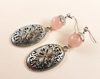 Rose Quartz Oval Ornament Earrings