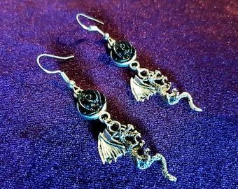 Demon Black Rose Earrings