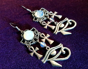 Opal Gemstone Earrings with Ankh and Eye of Horus