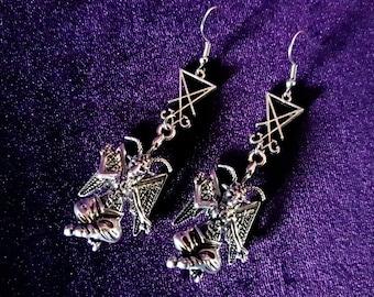 Baphomet Sigil of Lucifer Earrings.