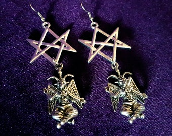 Baphomet Hexagram Earrings.