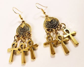 Mini Ankh Earrings (Available with 14k gold earhooks)