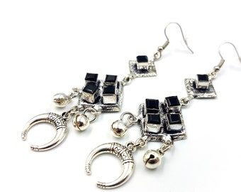 Black Cube Onyx Earrings